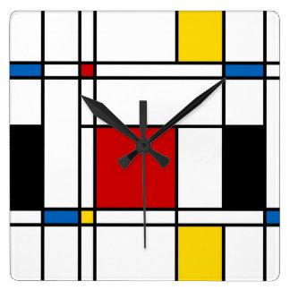 De Stijl Pattern Square Wall Clocks