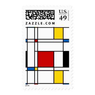 De Stijl Pattern Postage Stamp