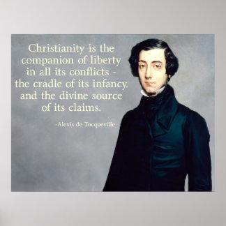 de Tocqueville Christian Quote Poster