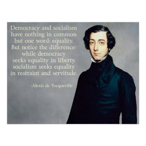 """equality in democracy in america by tocqueville Tocqueville says the main thing that struck him about his visit to america and study of american democracy was """"the general equality of condition among the people"""" (p 3."""