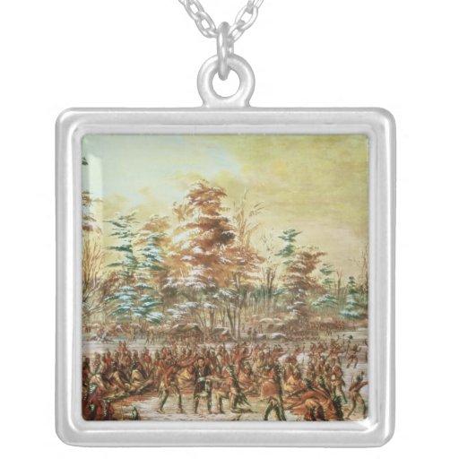 De Tonty Suing for Peace Square Pendant Necklace