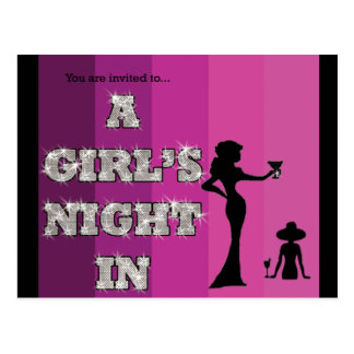 De un chica de la noche invitación de la postal ad