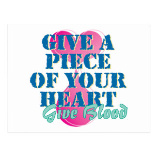 Dé un pedazo de su corazón - dé la sangre tarjetas postales