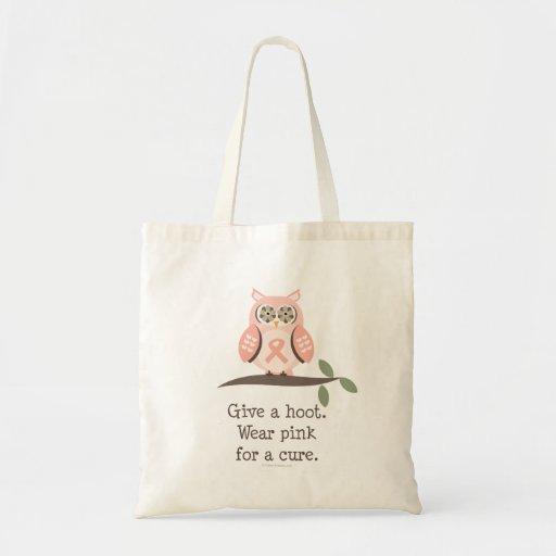 Dé una bolsa de asas del búho de la cinta del rosa