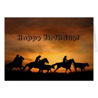 De una tarjeta de cumpleaños del vaquero del grupo
