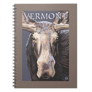 De VermontMoose cierre para arriba Libro De Apuntes Con Espiral