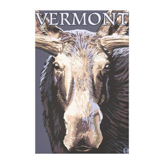 De VermontMoose cierre para arriba Lienzo Envuelto Para Galerías