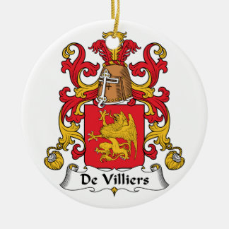 De Villiers Family Crest Double-Sided Ceramic Round Christmas Ornament