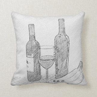 De vino todavía de la botella bosquejo de la vida cojín decorativo