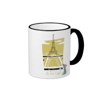 """De """"vitage de la torre Eiffel Eiffel del viaje del Taza De Dos Colores"""