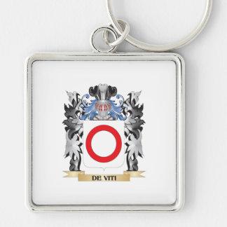 De-Viti Coat of Arms - Family Crest Silver-Colored Square Keychain