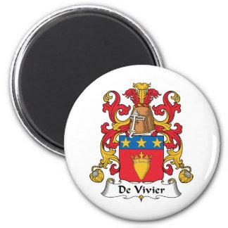 De Vivier Family Crest 2 Inch Round Magnet