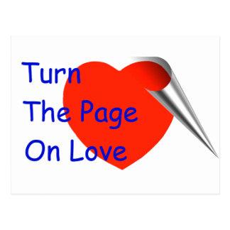 Dé vuelta a la página en amor postales