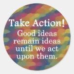 Dé vuelta a las buenas ideas en la acción positiva pegatinas