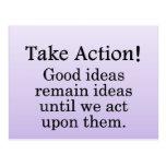 Dé vuelta a las buenas ideas en la acción positiva tarjeta postal