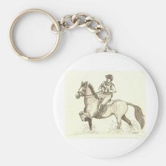 DÉ VUELTA EN el arte del caballo de Eventing del A Llaveros Personalizados