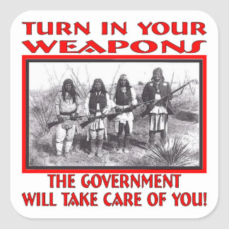 Dé vuelta en sus armas que el gobierno tomará pegatina cuadrada