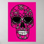 De XOXO poster del cráneo para siempre - en rosa