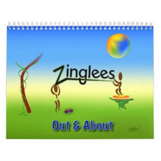 de Zinglees hacia fuera y alrededor Calendario