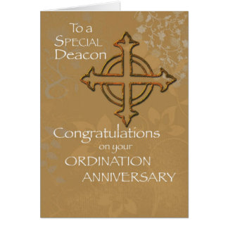 Deacon Anniversary of Ordination Gold Cross Card