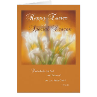 Deacon Happy Easter Lilies with Cross Card