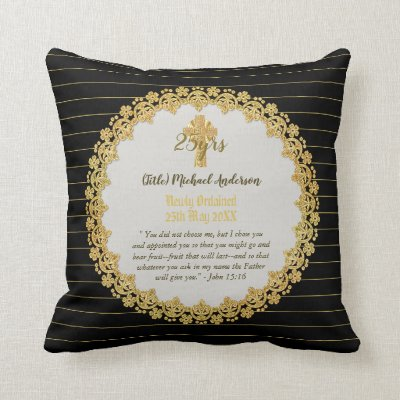 DEACON Newly Ordained Verse Gift Commemorative Throw Pillow