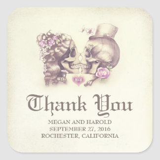 Dead and Nice Skull Couple Wedding Thank You Square Sticker