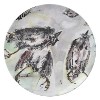 Dead Bird Ink and Watercolor Study Plate