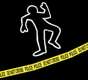 Dead Body Chalk Outline Duvet Cover