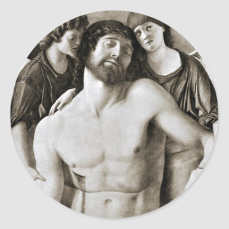 Dead Christ Between Two Angels by Giovanni Bellini Classic Round Sticker