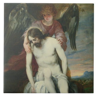 Dead Christ Supported by an Angel, c.1646-52 (oil Tile