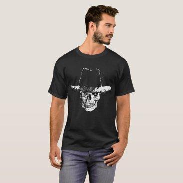 Halloween Themed Dead Cowboy Skull Wearing a Cowboy Hat T-shirt