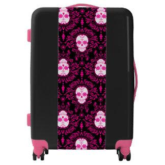 Dead Damask Black & Pink Sugar Skulls Luggage