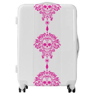 Dead Damask Bold Pink Sugar Skulls Luggage