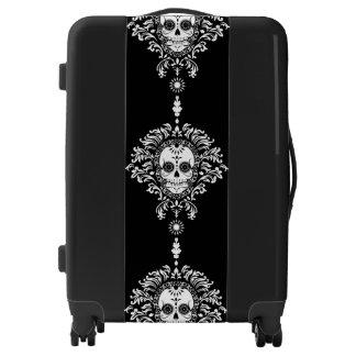 Dead Damask Bold White Sugar Skulls Luggage