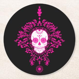 Dead Damask - Chic Sugar Skull Coasters Round Paper Coaster