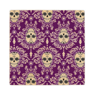Dead Damask - Chic Sugar Skull Wood Coasters