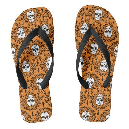 Dead Damask - Chic Sugar Skulls Pattern Flip Flops