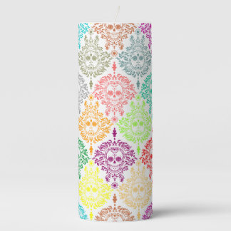 Dead Damask Colorful Sugar Skulls Pillar Candle