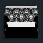 """Dead Damask - Custom Chic Sugar Skulls Envelope<br><div class=""""desc"""">This fun &amp; festive envelope features a sugar skull on the flap,  sugar skull damask pattern inside and sample return address text you can easily edit with your own OR delete. Click CUSTOMIZE to change or remove elements,  to change text color and font OR to add additional text</div>"""