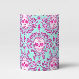 Dead Damask Festive Sugar Skulls Pillar Candle