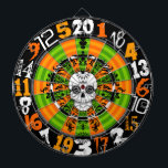 "Dead Damask - Halloween Sugar Skull Dartboard<br><div class=""desc"">This spooky Halloween and Day of the Dead dartboard features a crazy mix of typography and sugar skull for one truly FUN and UNIQUE design. Perfect for your home,  office,  bar or dorm - break it out every year for your Halloween party!</div>"