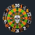 """Dead Damask - Halloween Sugar Skull Dartboard<br><div class=""""desc"""">This spooky Halloween and Day of the Dead dartboard features a crazy mix of typography and sugar skull for one truly FUN and UNIQUE design. Perfect for your home,  office,  bar or dorm - break it out every year for your Halloween party!</div>"""