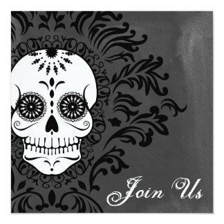 Dead Damask Sugar Skull on Grey Watercolor Card