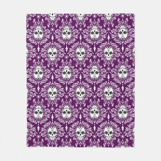 Dead Damask Sugar Skull Pattern Fleece Blanket