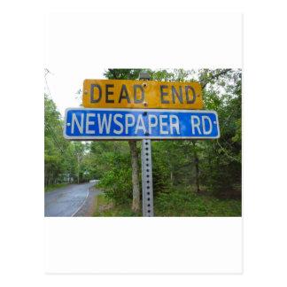 DEAD END NEWSPAPER ROAD POSTCARD