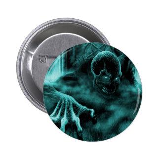 Dead evil blue pinback button