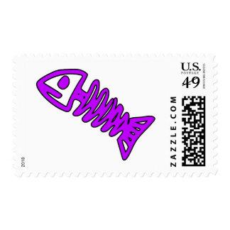Dead Fish Skeleton Skull Bones Fossil Purple Postage Stamp