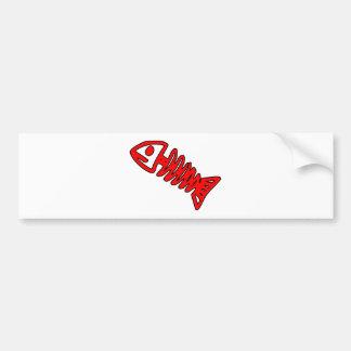 Dead Fish Skeleton Skull Bones Fossil Red Bumper Sticker