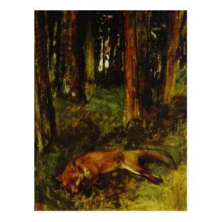 Dead fox lying in the Undergrowth by Edgar Degas Postcard
